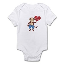 Love Monkey Boy Heart Infant Bodysuit
