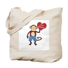 Love Monkey Boy Heart Tote Bag