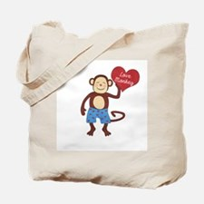 Love Monkey Boy Heart Tote Bag