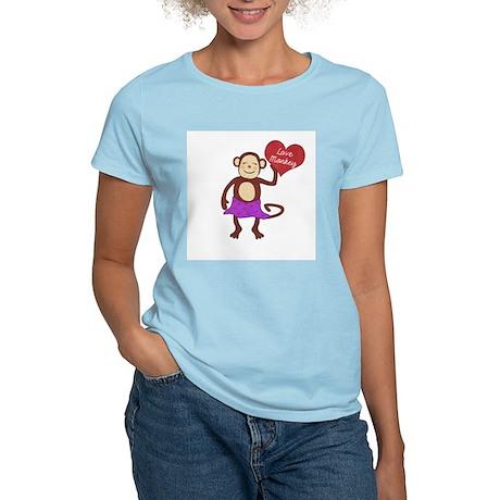Love Monkey Girl Heart Women's Light T-Shirt