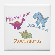 Mom, Dad & Zoeosaurus Tile Coaster