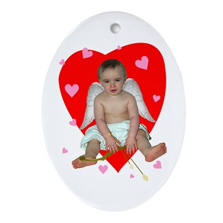 Lots of Hearts Cupid Oval Ornament