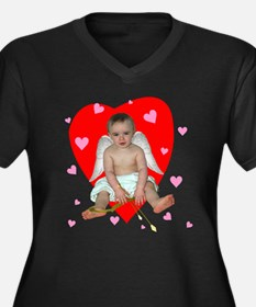 Lots of Hearts Cupid Women's Plus Size V-Neck Dark