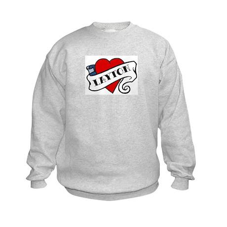 Layton tattoo heart Kids Sweatshirt