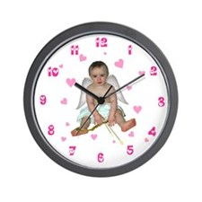 Pink Hearts Cupid Wall Clock