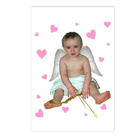 Pink Hearts Cupid Postcards (Package of 8)