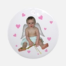 Pink Hearts Cupid Ornament (Round)