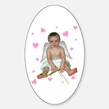 Pink Hearts Cupid Oval Decal