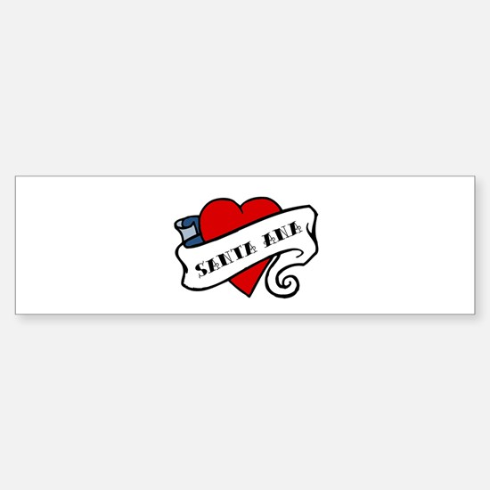 Santa Ana tattoo heart Bumper Car Car Sticker