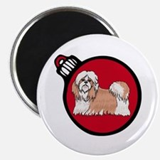 Red Shih Tzu Christmas Magnet