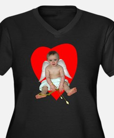 Baby Cupid Women's Plus Size V-Neck Dark T-Shirt