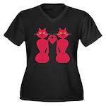 Kitty Love Women's Plus Size V-Neck Dark T-Shirt