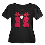 Kitty Love Women's Plus Size Scoop Neck Dark T-Shi