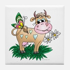Cow & Butterfly Tile Coaster