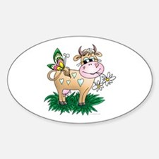 Cow & Butterfly Oval Decal