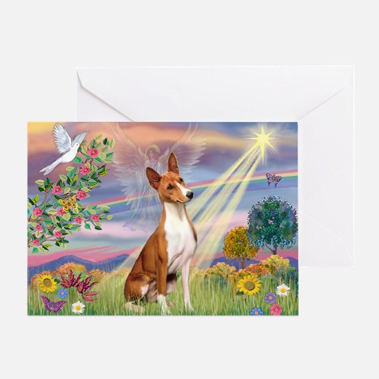 Cloud Angel & Basenji Greeting Card