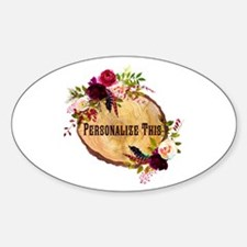 Wood Slice Floral Personalized Decal