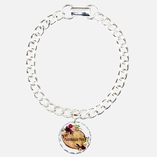 Wood Slice Floral Personalized Bracelet