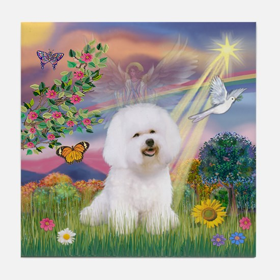 Cloud Angel & Bichon Tile Coaster