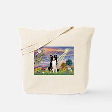 Cloud Angel & Border Collie Tote Bag
