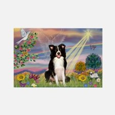 Cloud Angel & Border Collie Rectangle Magnet