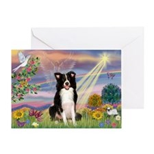 Cloud Angel & Border Collie Greeting Card