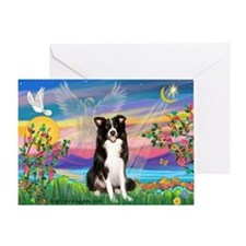 Guardian Angel / Border Collie Greeting Card