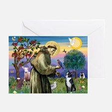 St Francis Boston Terrier Greeting Cards (Pk of 20