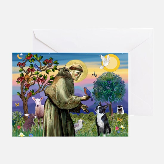 St Francis Boston Terrier Greeting Card
