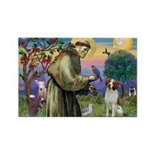 St. Francis & Brittany Spaniel Rectangle Magnet