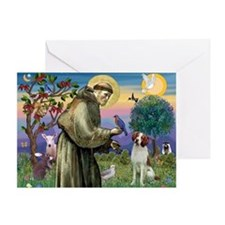 St. Francis & Brittany Spaniel Greeting Card