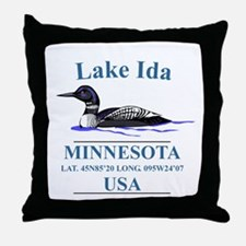 Loon with Lat. & Long. Throw Pillow
