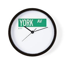 York Avenue in NY Wall Clock