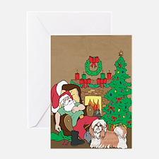 Santa Has A Shih Tzu Christmas Greeting Card