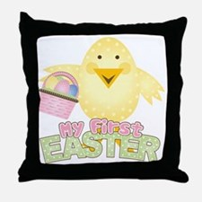1st Easter Chick Girl Throw Pillow