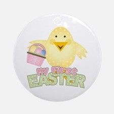 1st Easter Chick Girl Ornament (Round)