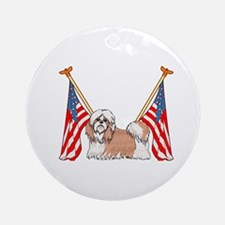 All American Shih Tzu Ornament (Round)