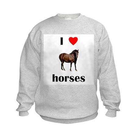 I love horses Kids Sweatshirt