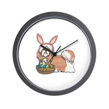 Easter Bunny Shih Tzu Wall Clock