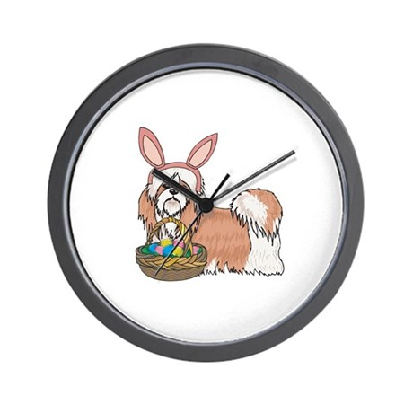 Easter Bunny Shih Tzu Wall Clock
