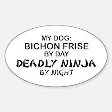 Bichon Frise Deadly Ninja Oval Decal