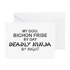 Bichon Frise Deadly Ninja Greeting Cards (Pk of 10
