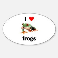 I love frogs Oval Decal