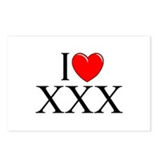 """""""I Love (Heart) XXX"""" Postcards (Package of 8)"""
