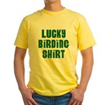 Lucky Birding Shirt (Green Text) Yellow T-Shirt