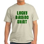Lucky Birding Shirt (Green Text) Light T-Shirt