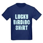 Lucky Birding Shirt (Sky Text) Kids Dark T-Shirt