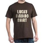 Lucky Birding Shirt (Tan Text) Dark T-Shirt