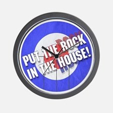 Rock In The House! Curling Wall Clock