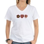 Red Daylilies Women's V-Neck T-Shirt